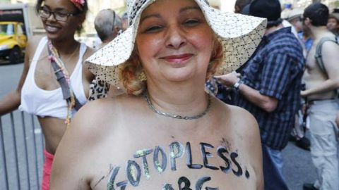 Women bare breasts for equality in New York City on GoTopless Day – National | Globalnews.ca